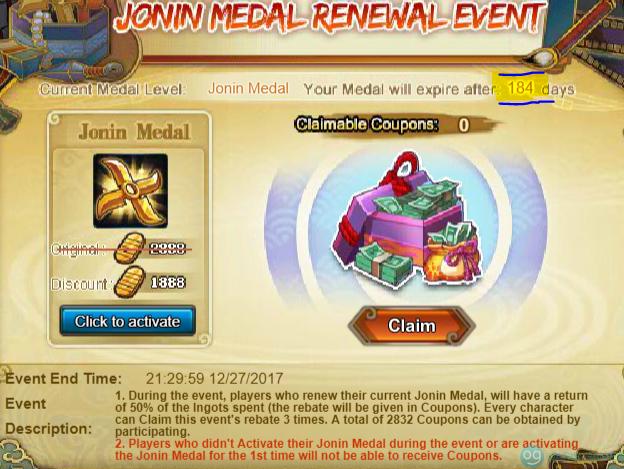 Jonin Medal Reset
