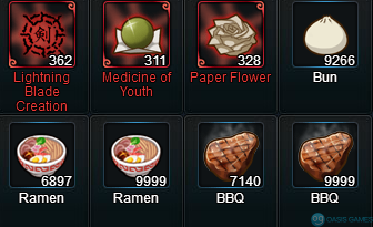 Naruto Online food count 10 09 18